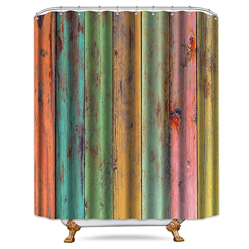 Cdcurtain Colored Striped Wooden Shower Curtain Free Metal Hooks 12-Pack Green Yellow Red Wood Rainbow Vertical Wood Planks Decor Fabric Bathroom Set 72x72 - Curtain Stripes Rainbow