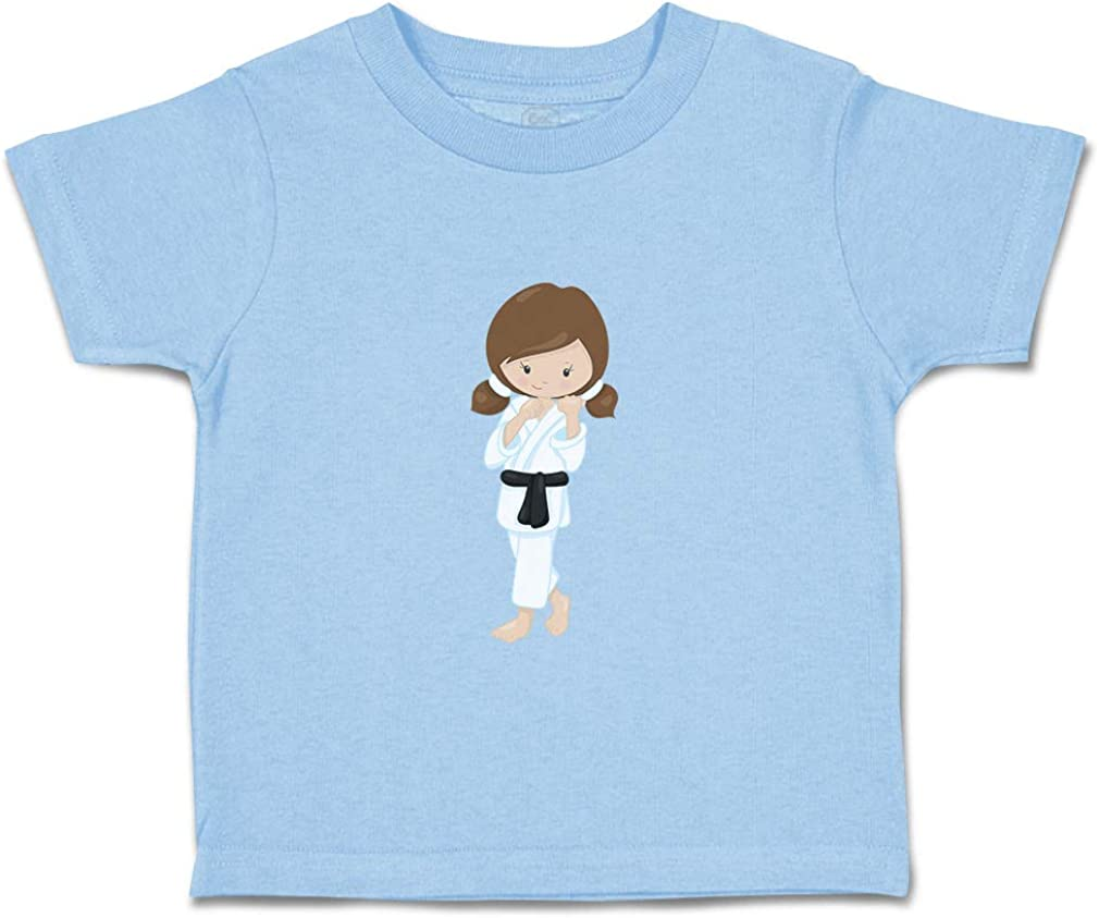 Custom Baby /& Toddler T-Shirt Karate Girl Pose 4 Brown Cotton Boy Girl Clothes