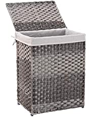 Mxfurhawa Handwoven Laundry Basket Foldable Rattan Laundry Hamper, with Removable Washable Liner Bag, lid and Handles, Portable Rectangular Laundry Hamper for Bathroom Bedroom Balcony