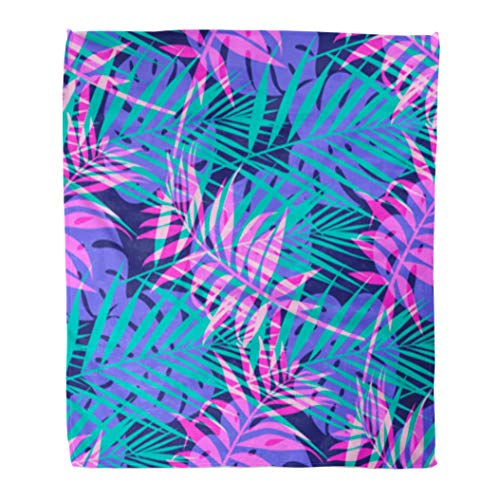 Golee Throw Blanket Blue Abstract Pattern Tropical Palm Leaf in Neon Colors Pink 50x60 Inches Warm Fuzzy Soft Blanket for Bed Sofa ()