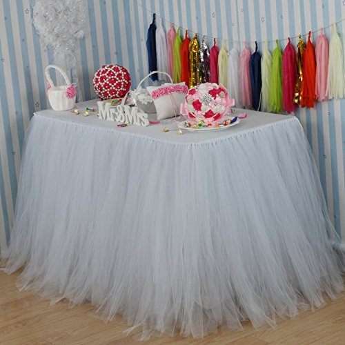 Vlovelife White Tulle Table Skirt Tutu Tableware TableCloth Party Baby Shower Birthday Wedding Decorations Favor 100cm X 80cm Customized Size Available (Wedding Party Favor Tulle)