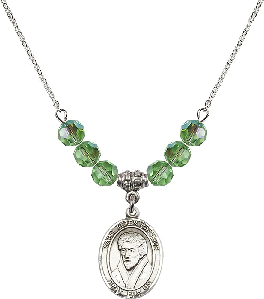 18-Inch Rhodium Plated Necklace with 6mm Peridot Birthstone Beads and Sterling Silver Saint Peter Canisius Charm.