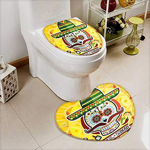 L-QN Lid Toilet Cover The Dead Decor Mexican Sugar Skull Tacos Chili Pepper November 2nd Cushion Non-Slip by L-QN