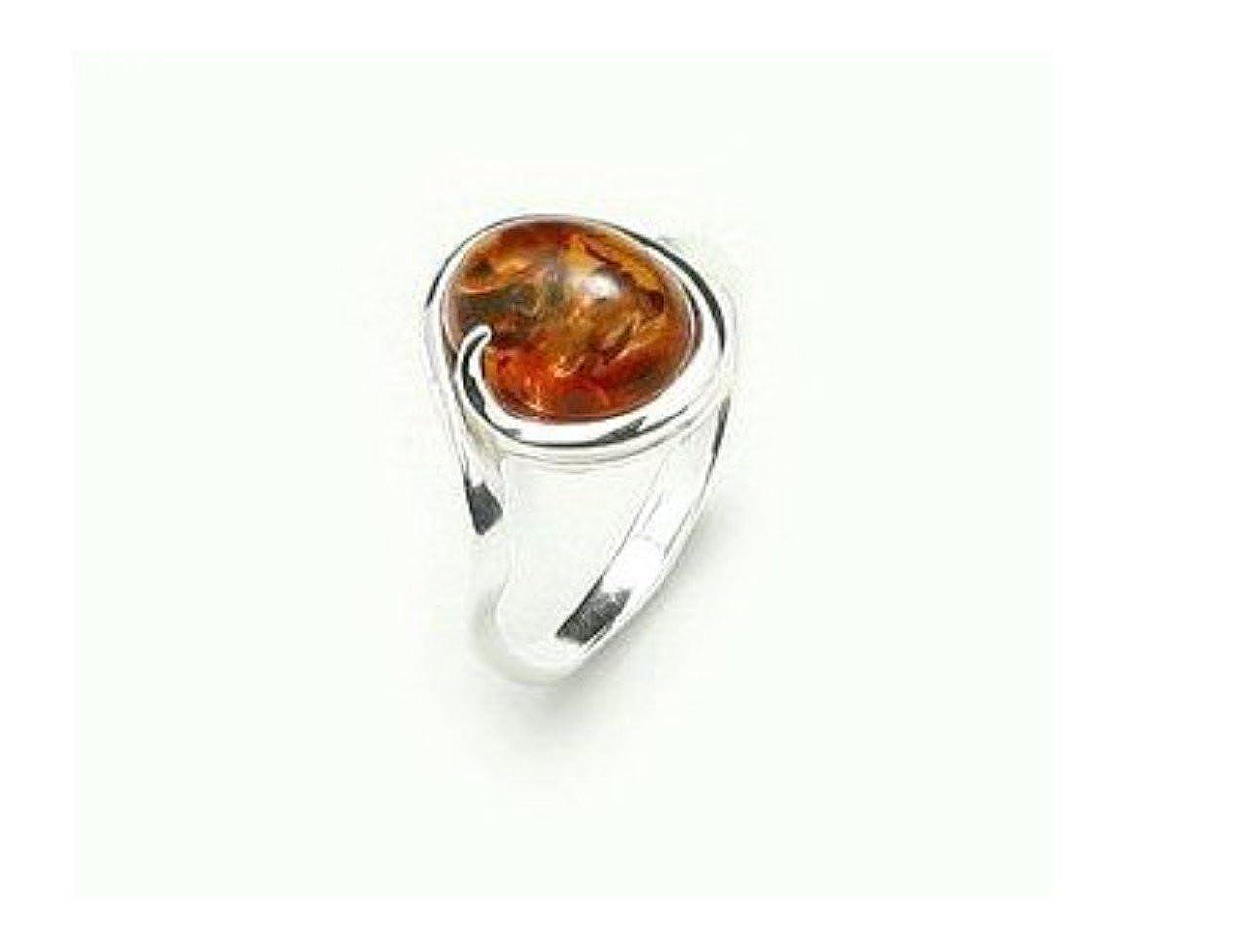 Geniune Anello in argento Sterling e Ambra Baltica 11 cod. RING-1400 AmberSilver925 RING-140074