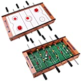 Foosball Soccer Table Air Hockey 2 In 1 Swivel Multi Game Table Indoor Amusement Family Friends Arcade Room Kick-Off Football Table Holiday Season Birthday Christmas Gift Kids Children Game