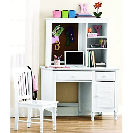 Desk With Hutch And Chair   This Kidsu0027 Neat White Wooden Desk Set Bundle For