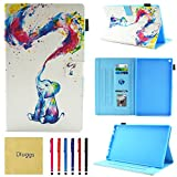 Fire HD 8 Case, Case for Kindle Fire HD8, Dluggs Slim Fit Folio Stand Smart Cute Pattern Wallet Case with Auto Wake/Sleep Feature for All-New Amazon Fire HD 8 Inch Tablet, Elephants