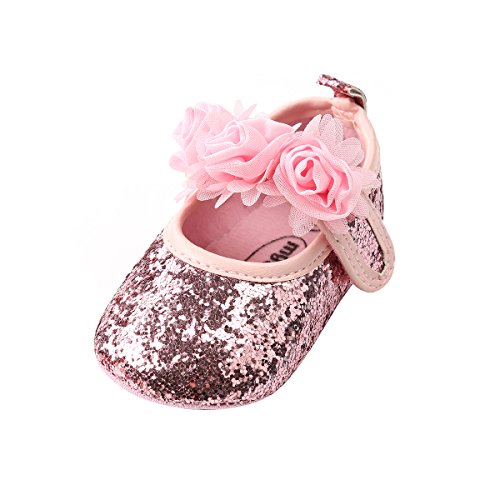 Sakuracan Baby Girls Princess Shoes Rose Flower Soft Sole Anti Slip Dress Shoes Mary Jane Flat (11cm(0-6 Months), B-Pink)
