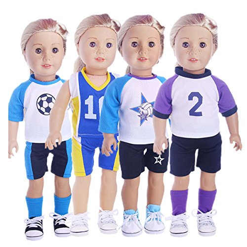 - Sunward 1 Set Sportswear For 18 Inch American Girl Doll Gifts Polo Shirt Short Football Outfit (A)