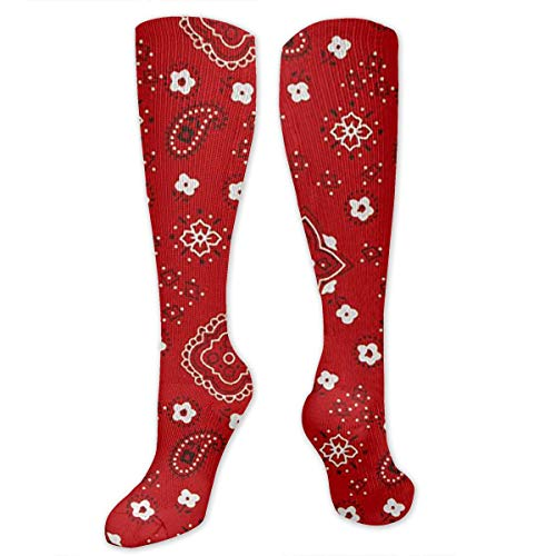 (Oswz Bandana Prints Red Graduated Compression Socks for Men & Women Best Stockings for Nurses, Travel, Running, Maternity Pregnancy)