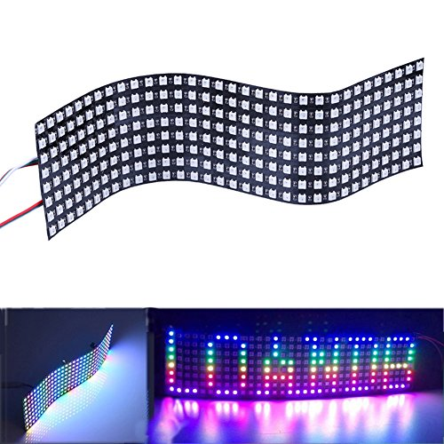 Visdoll 8x32 WS2812B 5050 RGB LED Panel, 256 Pixels Digital Flexible LED Display Panel Individually Addressable Full Dream Color Lighting DC5V