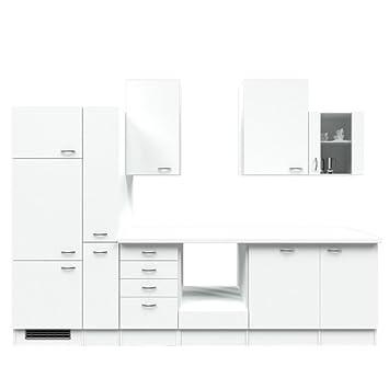 Küchenzeile 310 cm ohne geräte weiß mit schubkastenschrank witus