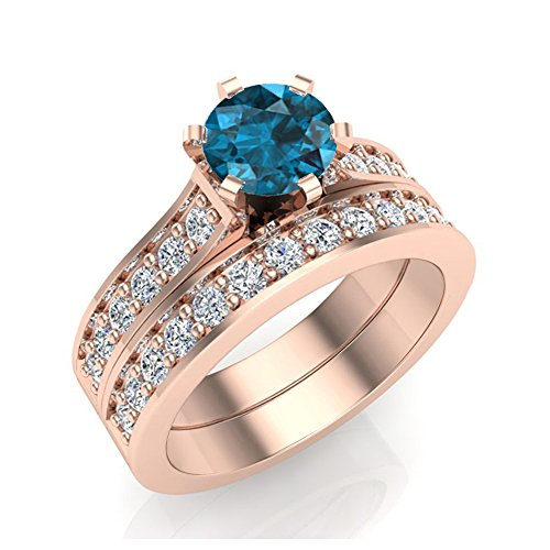1.10 ct tw Blue & Natural White Diamond Wedding Ring Set 14K Rose Gold (Ring Size 8.5) (Bridal Sets White Gold Blue)