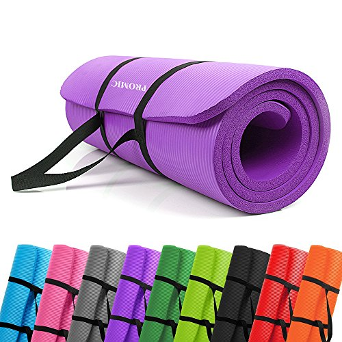PROMIC All-purpose 0.6 inches Extra Thick 72 inches Long High Density Anti-Tear Non-Slip Exercise Mat, Yoga Mat, Pilates Mat with Carrying Strap for Fitness, Workout