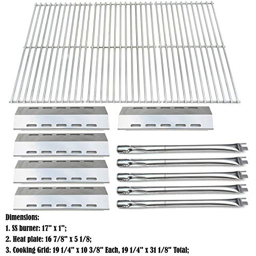 Ducane Outdoor Grills - Direct store Parts Kit DG210 Replacement Ducane 30400042,30400043,30558501 Gas Grill Burners,Heat Plates,Cooking Grid (SS Burner + SS Heat Plate + Solid Stainless Steel Cooking Grid)