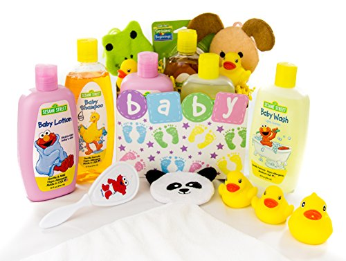 Bubble Bath Time Gift Basket for New Moms, Baby Showers a Great Gift Set (Baby Neutral) (Bath Basket Baby New Gift)