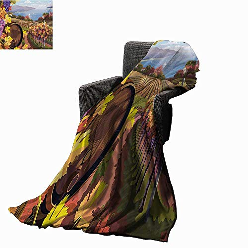 Anyangeight Winery Custom Design Cozy Flannel Blanket Countryside Landscape Vineyard Agriculture Winemaking Season Grapes in Farm Print,Super Soft and Comfortable,Suitable for Sofas,Chairs,beds
