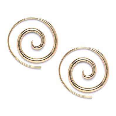 81stgeneration Women's Men's Wood Brown Brass Gold Tone Spiral Fake Stretcher Tribal Earrings iesIdhc8