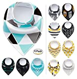 Paws n' Play [4 Piece Fun Bright Color Snap-On Pet Dog Bandana Triangle Scarf Bibs - Accessories for Dogs, Puppy, Cats - Small/Medium, Soft Cotton Bandanas (Azure Forest)