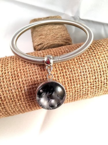 Silver Plated Snap Bracelet Elastic Band Snap Jewelry Adjustable Wrist Ginger Snap Charms Snap Jewelry Popper Snap Button Included. ()
