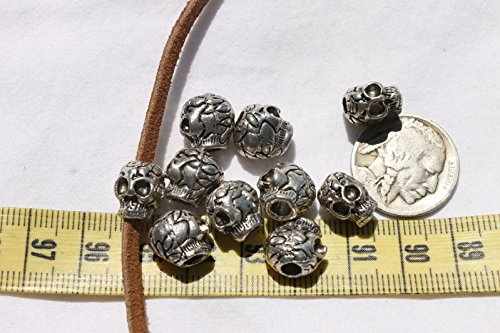 Skull Halloween Beads for Jewelry Making, Supply for DIY Beading Projects 9.5mm Wide x 11.5mm Long Alloy Metal Antique Silver (Pony Bead Patterns Halloween)