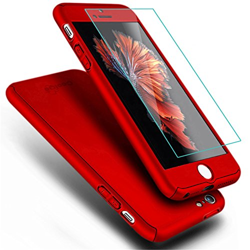 iPhone 5 Case,iPhone 5S Case, COOLQO Full Body Coverage Ultra-thin Hard Hybrid Plastic with [Slim Tempered Glass Screen Protector] Protective Case Cover & Skin for Apple iPhone 5/5S (Red) (Skin Cell Case Phone)