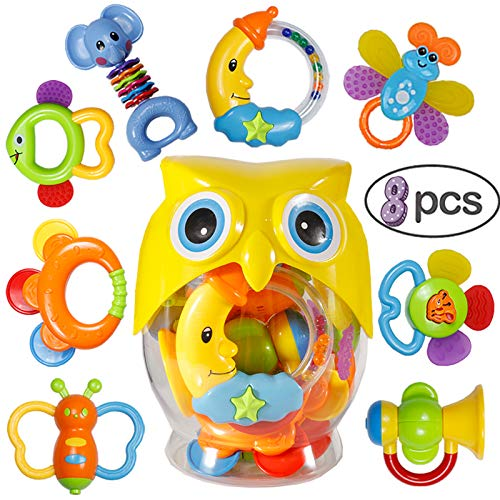 (Baby Rattle Sets Teether Rattles Toys - 8 Pcs Babies Grab Shaker and Spin Rattle Toy Early Educational Toys with Owl Bottle Gifts Set for 3,6,9,12 Month Newborn Infant Baby, Boy, Girl)