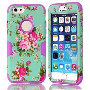 iPhone 6 Case Rose Flower, iPhone 6 4.7 Case, i6 Cover, MagicSky 3 in 1 Combo Tuff Hybrid Armor Shockproof Cover Skin Protective Case for iPhone 6 4.7inch, 1 Pack(Purple)