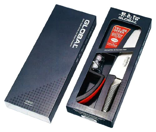 Global G-2220BR Gift Set containing Award Winning Global G-2 Cooks Knife & Minosharp Sharpener G2220BR