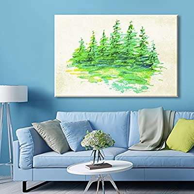 Abstract Watercolor Style Painting Green Forest
