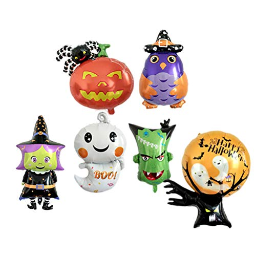 BESPORTBLE 6PCS Halloween Balloons Decoration Aluminum Foil Balloons Ghost Geek Head Ghost Tree Witch Pumpkin Spider Owl Decor Props Balloons -