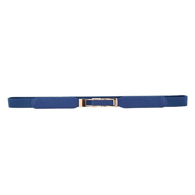 Damara Mujer Elegante de enclavamiento hebilla fina cintura elástica  cinturón - Azul -  Amazon.es  Ropa y accesorios 425577ac2711