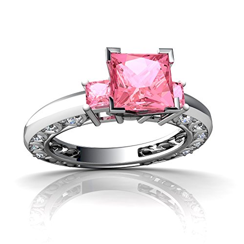 14kt White Gold Lab Pink Sapphire and Diamond 3mm Square Art Deco Ring - Size (Sapphire Art Deco Ring)