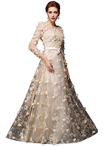 trasparente maniche Abito semi con perlato Line da Beauty sera fiori a lunghe Emily Champagne abito in pizzo lungo A PPqr6x