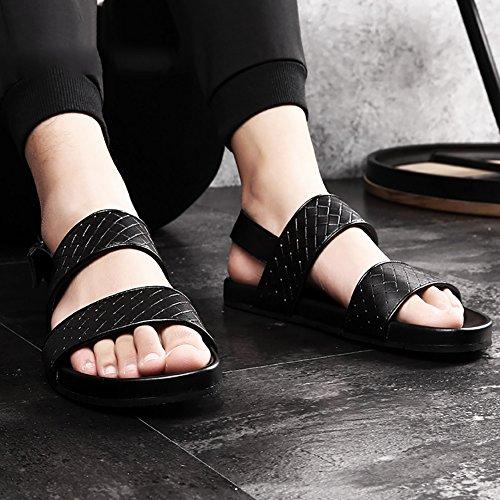 Sandalo 43 Morbida in punta Uomo nera Size Sandali pelle in 46 antiscivolo Beach fibbia ZJM progettato Slipper 38 Summer metallo dimensioni Shoes vera dZqSa0nCwB