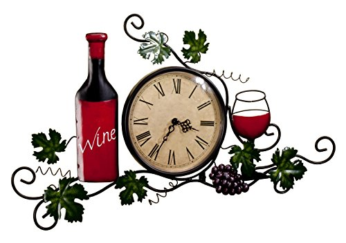 Wine Wall Clock, Roman Numeral, 6¼ Inch Diameter Clock Face, Wall (Painted Metal Grapevine)