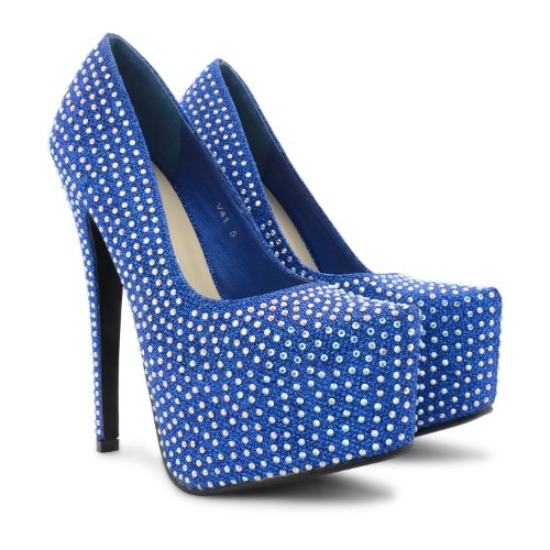 Footwear Sensation - Zapatos de vestir de sintético para mujer negro - Blue Shine