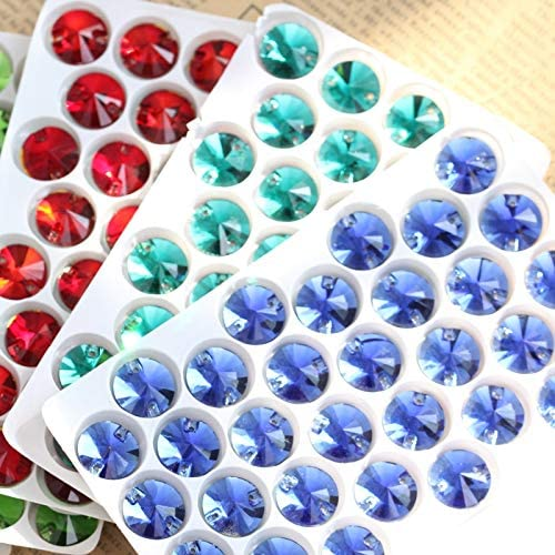 Pukido Round Rivoli Glass Crystal AB Sew On Rhinestones Sew On Crystal Flatback Crystal AB Sewing Rhinestones For Wedding Dress B0292 Color: 12mm 48pcs