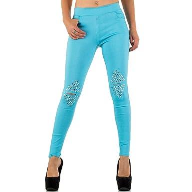 9472b3029d06 Damen Jeans Hose Jeanshose Damenjeans Jeggings Nieten Skinny Röhre  Röhrenjeans Bluejeans Blau S M