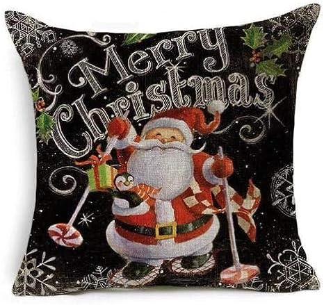 Image ofcaogsh Funda de Almohada de Lino, diseño de Papá Noel y Copos de Nieve, extraíble y Lavable, 45,7 x 45,7 cm, Christmas11#, 4covers+4cores
