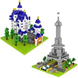 Fun Little Toys Mini Nanoblock Eiffel Tower and Neuschwanstein Castle DIY Architectural Building Blocks Gift For Boys Girls, Stem Educational Toy Set - 729 PCs