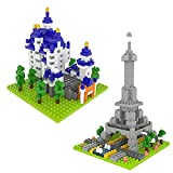 FUN LITTLE TOYS Building Blocks for Toddlers, 729 pcs 3D Nanoblock, DIY Building Bricks Sets, Eiffel Tower and Neuschwanstein Castle, STEM Education Toy for Kids Boys and Girls
