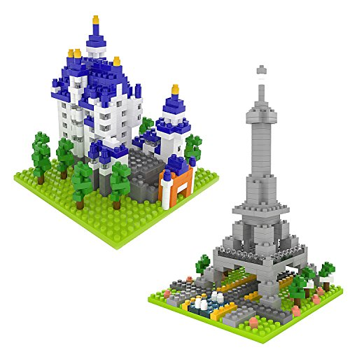 FUN LITTLE TOYS Building Blocks for Toddlers, 729 pcs 3D Nanoblock, DIY Building Bricks Sets, Eiffel Tower and Neuschwanstein Castle, STEM Education Toy for Kids Boys and Girls by FUN LITTLE TOYS