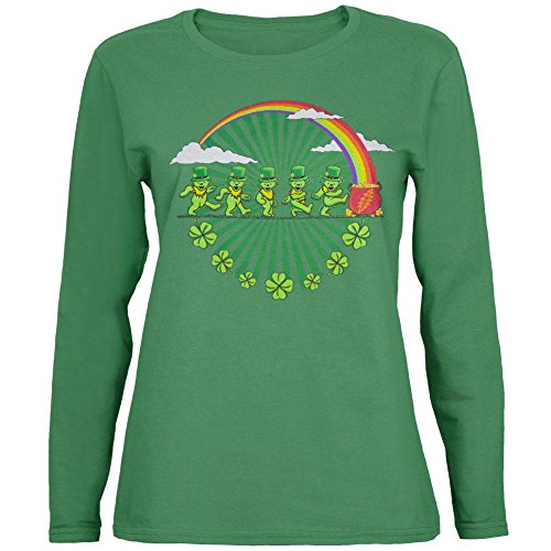 Grateful Dead - Leprechaun Bears Grass Juniors Long Sleeve - Large Green