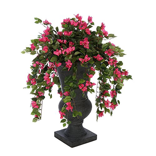 House of Silk Flowers Faux Pink Mini Bougainvillea in Urn Planter (Black Roman Urn)