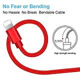 BESKIN Lightning Cable For Iphone, 3Pack 5ft/1.5M Charger Cable Nylon Braided For Lightning To USB Iphone Charger Cable Iphone 7/7 Plus/6/6s/6 Plus/ 5/5s/5c, Ipad, Ipod And More Red By BESKIN