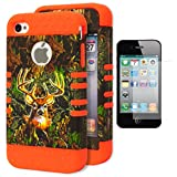 iPhone 4 Case, Bastex Heavy Duty Hybrid Protective Case - Orange Soft Silicone Cover with Brown Deer Camo Design Hard Shell for Apple iPhone 4, 4S, 4GS **INCLUDES A SCREEN PROTECTOR!**
