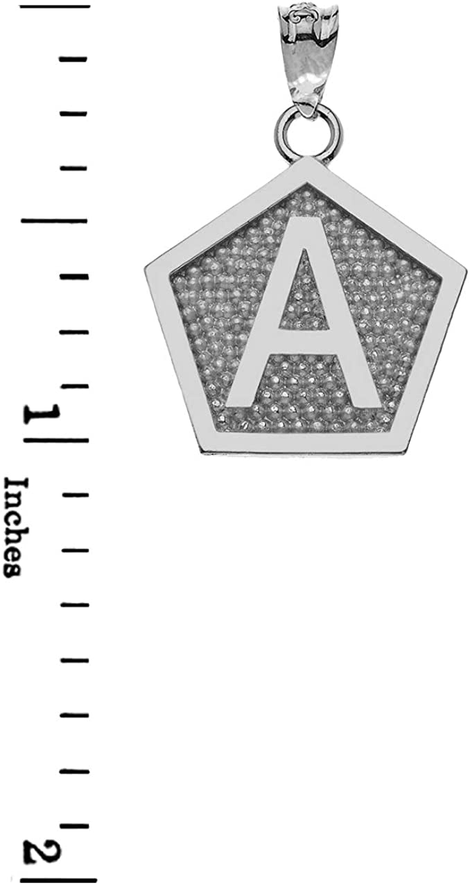LA BLINGZ 10K White Gold Letter E Initial Pentagon Pendant Necklace