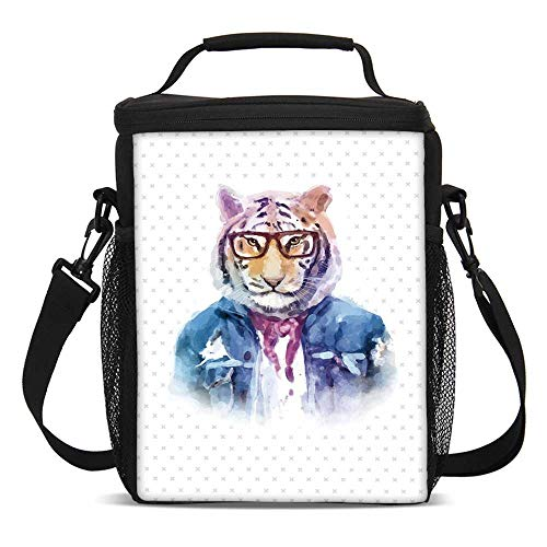 - Quirky Decor Fashionable Lunch Bag,Intellectual Tiger with Scarf Torn Denim Jacket and Glasses Watercolor Artwork Decorative for Travel Picnic,One size