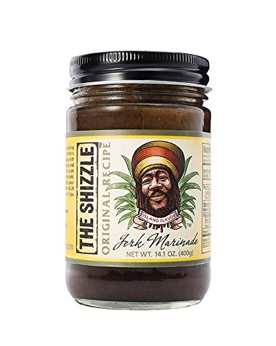 Island Marinade - The Shizzle Original Jerk Seasoning Marinade (Single) – 14 Ounce Jar – Authentic Island Flavor w/ Pineapple Base – Traditional Rub – Sauce for Chicken, Pork, Fish, Vegetables